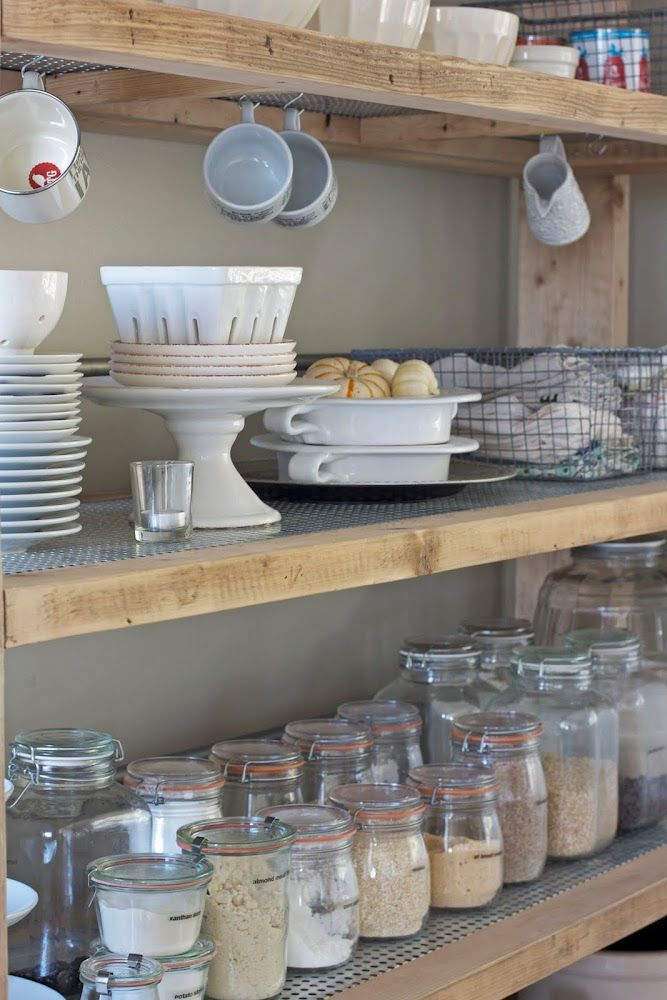 Such pretty pantry / kitchen shelves.: Kitchens Shelves, Open Shelves, Idea, Pantries Lists, Keep It Simple, Pantries Organizations, Pantries Shelves, Glasses Jars, Gluten Free