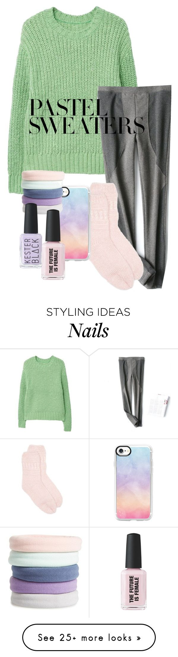 """Untitled #1634"" by twisted-magic on Polyvore featuring MANGO, New Directions, Casetify, L. Erickson and pastelsweaters"