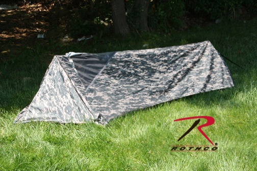 1 Man Bivouac Tent - ACU Digital Camo [3820] - $48.39  Better several one man tents than trying to haul one huge 10 man tent!