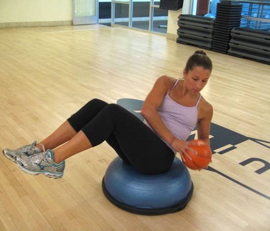 BOSU abs This move works the abs, especially the obliques, as well as the muscles that support the spine. Holding a four- or six-pound medicine ball at your chest, sit just forward of the center of the BOSU. Take your time to find the sweet spot for your balance. Bri...
