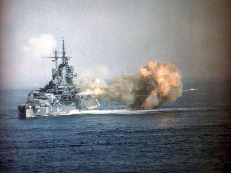 Battleship USS Idaho (BB-42) bombarding Okinawa, 1945.