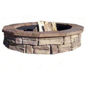 fossill stone random stone brown round fire pit kitrsfpb at the home depot