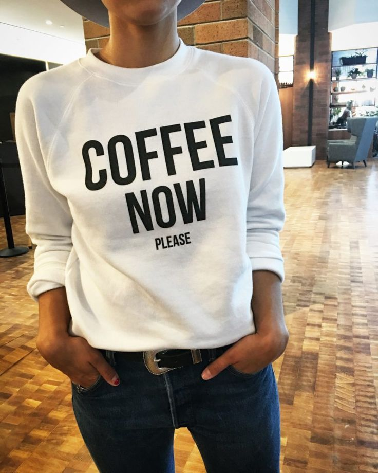Coffee Now Please! Cozy sweatshirt in white, click to see more. https://brunettethelabel.com/products/the-coffee-now-crew-in-white