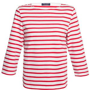 Saint James Galathee White And Red Striped Shirt