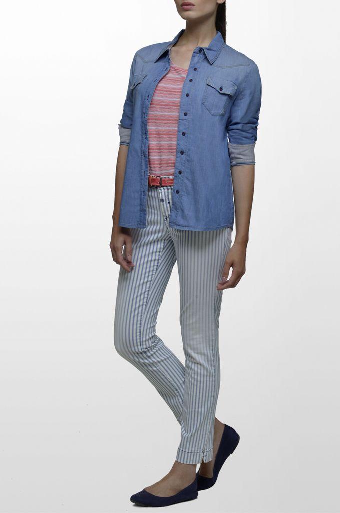 Sarah Lawrence - short sleeve striped blouse, long sleeve denim shirt, denim cropped pant, leather belt.