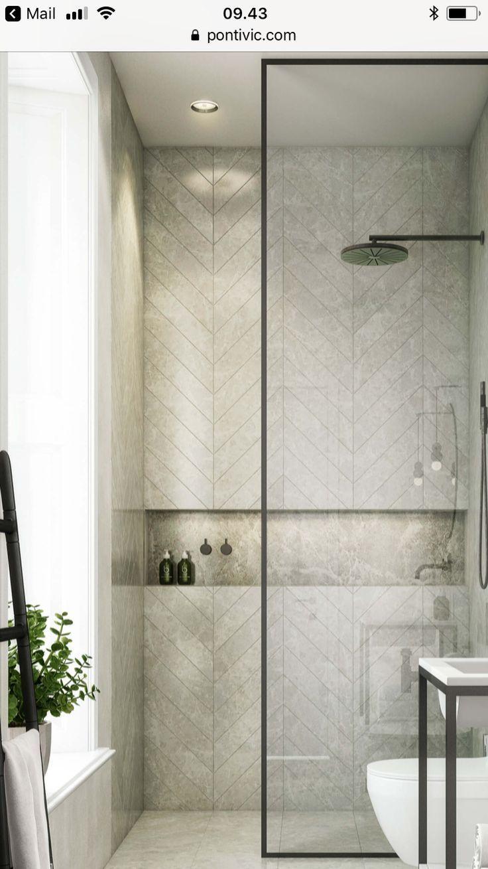 black frame shower partition, horizontal niche, herringbone tile ...