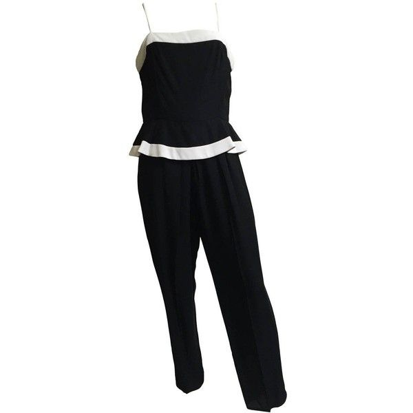 Preowned Raul Blanco 80s Peplum Jumpsuit Size 8. ($150) ❤ liked on Polyvore featuring jumpsuits, black, jump suit, zipper jumpsuit, petite jumpsuit, peplum jumpsuit and strappy jumpsuit