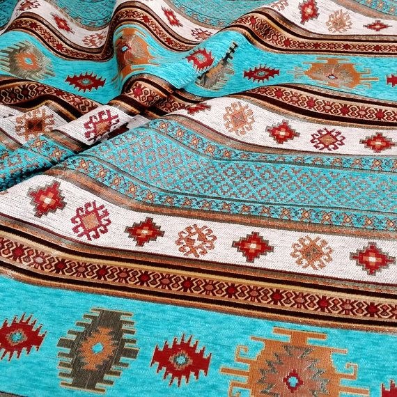 Ethnic Tribal Style Chenille Upholstery Fabric, Aztec Navajo Fabric, Geometric Design Kilim Fabric, Turquoise, by the Yard/Metre, Ach-027