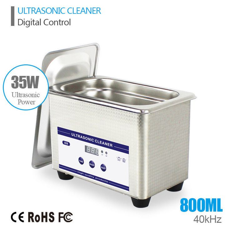 Stainless Steel Digital Ultrasonic Cleaner Transducer Jewelry 0.8L 35W 40kHz #SKYMEN