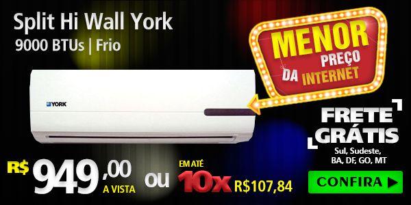 Ar Condicionado - AR CONDICIONADO YORK SPLIT HI WALL 9.000 BTUS FRIO 220V - YKS09FCA - Mais Brasil Eletros