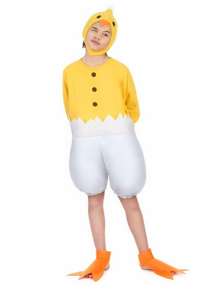Küken Kinderkostüm: Dieses Küken Kinderkostüm besteht aus einer kurzen Kombi, einer Kopfbedeckung und orangefarbenen Überschuhen. Die Kombi ist gelb-weiß und ist unten und an den Ärmelenden mit...