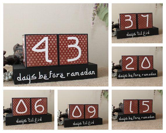Countdown to Ramadan - Days 'til Eid Wooden Display - Eid Countdown Wood Blocks - Ramadan Gifts for Kids - Iftar Gifts - Ramadan Decoration