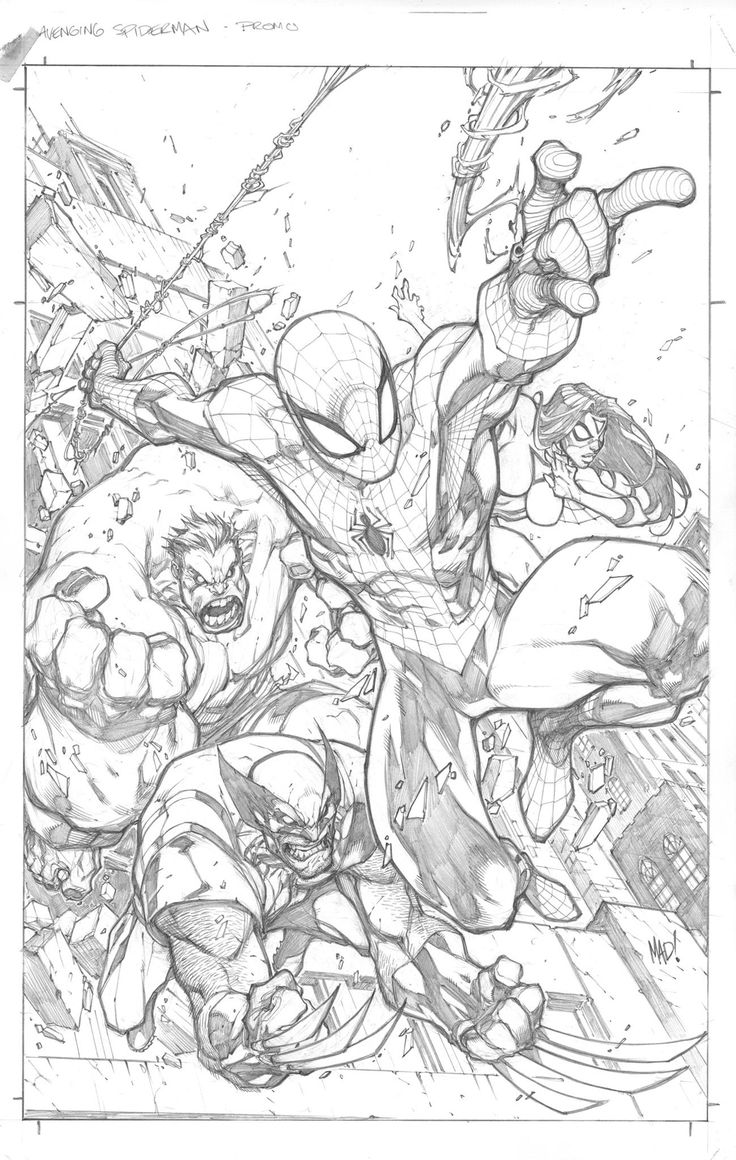 Joe Madureira | Avenging Spiderman #1 Cover (pencils).