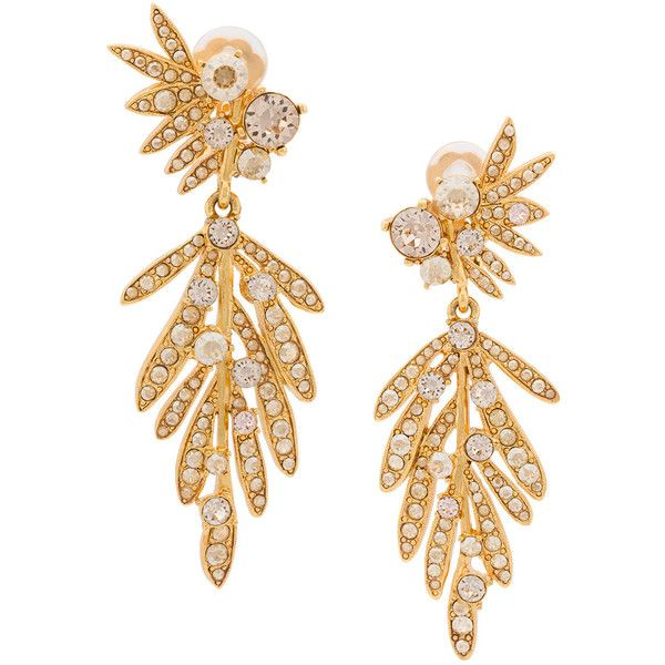 Oscar de la Renta tropical palm crystal clip-on earrings (1.907.530 COP) ❤ liked on Polyvore featuring jewelry, earrings, accessories, brincos, crystal clip on earrings, crystal jewelry, crystal jewellery, crystal stone jewelry and clip on earrings