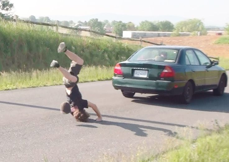 Jumping Over Moving Car Fail Compilation