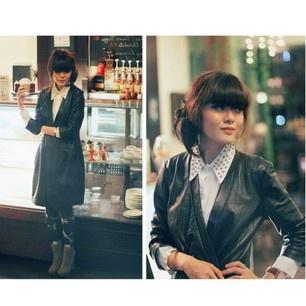 Sonia Eryka Armani Exchange Leather blazer dress