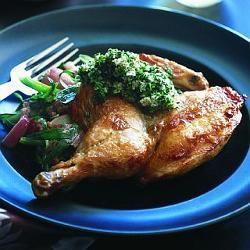 Spatchcocked chicken with potato salad & tarragon bread sauce