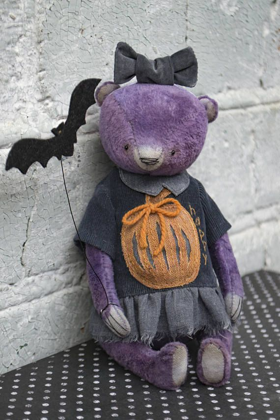 Happy Halloween Artistic teddy bear OOAK plush teddy bear.