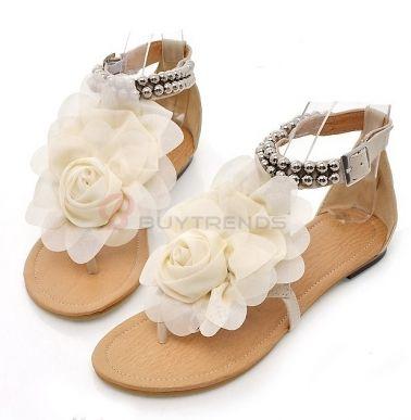 Fashion Design Flower Embellished Flat Shoes on buytrends.com
