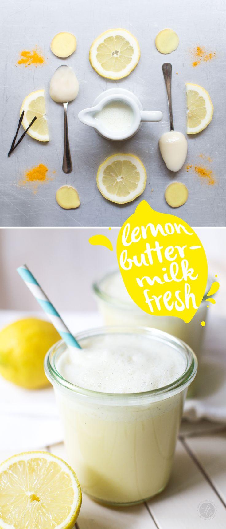 Lemon-Buttermilk-fresh Shake, Rezept von feiertaeglich.de, #SmoothieMontag