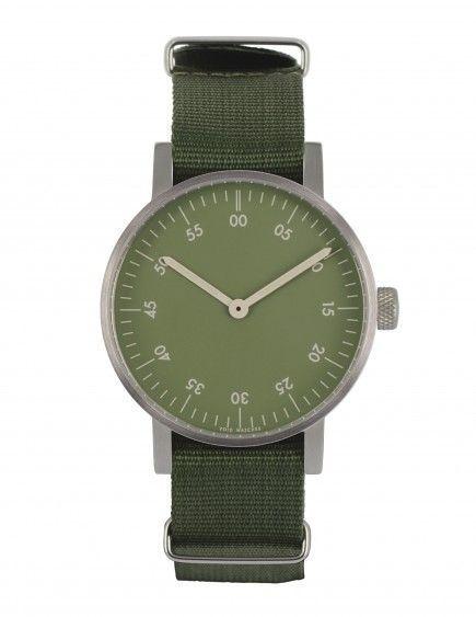 VOID V03B Basic Watch - Brushed Round Basic, Green Nylon Strap, Green Dial - hardtofind.