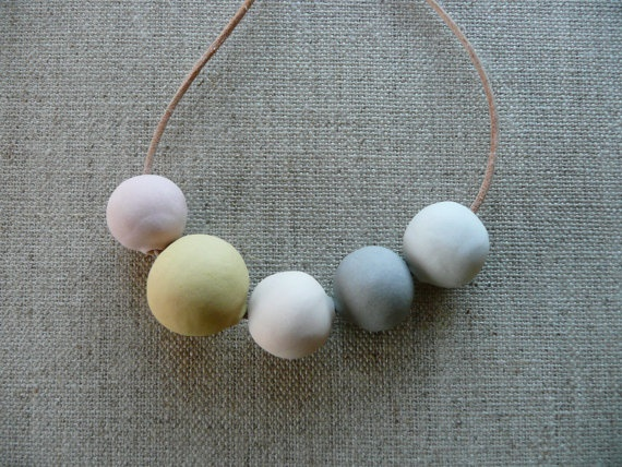 andODesign : Peach and Mustard Ceramic Beads Necklace