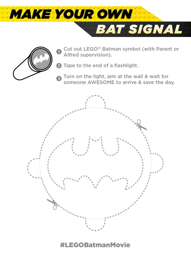 Get a flashlight, my DIY cutout bat symbol, and presto! You have your own Bat signal. Please only use it for emergencies, I'm a very busy guy saving the world and stuff. Download this Pin image on your device to print at home! Link to print: pdl.warnerbros.co...   The LEGO® Batman Movie   In cinemas February 10