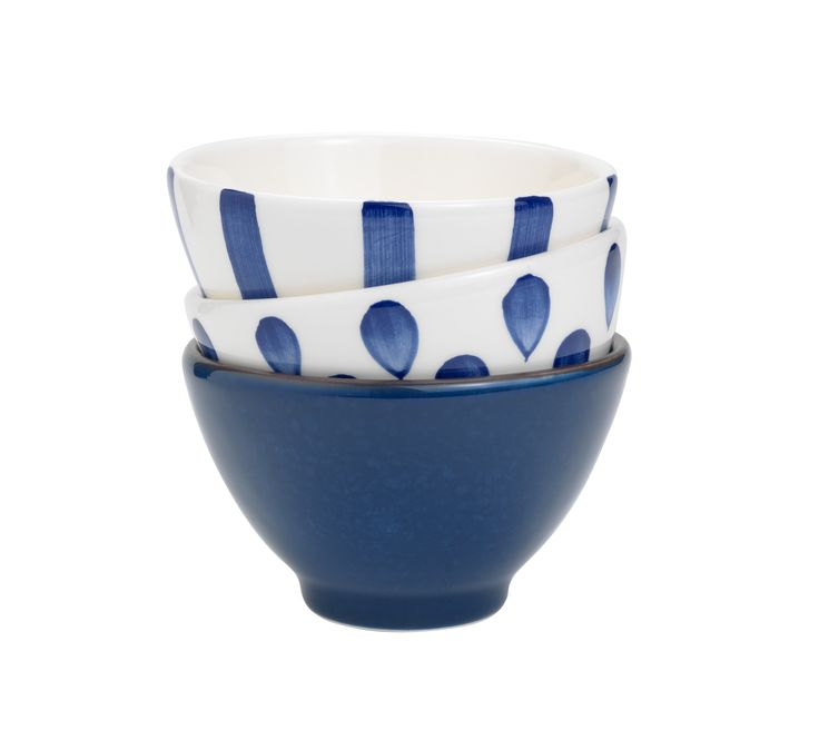 Create a casual, eclectic vibe by mixing and matching a selection of these painted earthenware bowls, ideal for fresh dips. Priced at £2.50 each.