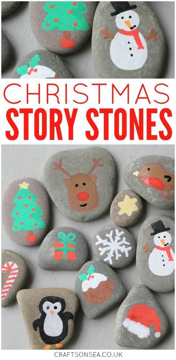 Love painted rock ideas? These DIY Christmas story stones are super simple to make and a great way to encourage your kids creativity. #christmascrafts #paintedrocks #paintedstones #christmas #craftsonsea