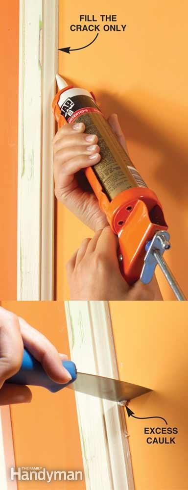 Apply a thin bead of paintable acrylic latex caulk only inside the crack where wood meets a wall for a smooth, professional appearance. Remove extra caulk with a putty knife. And buy a dripless caulk gun to save time and frustration. Cut the tip smaller than you think you need.
