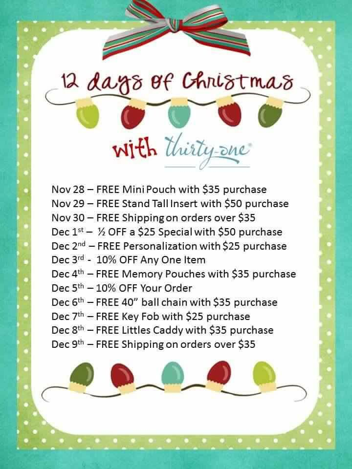 12 days of Christmas Thirty One Gifts