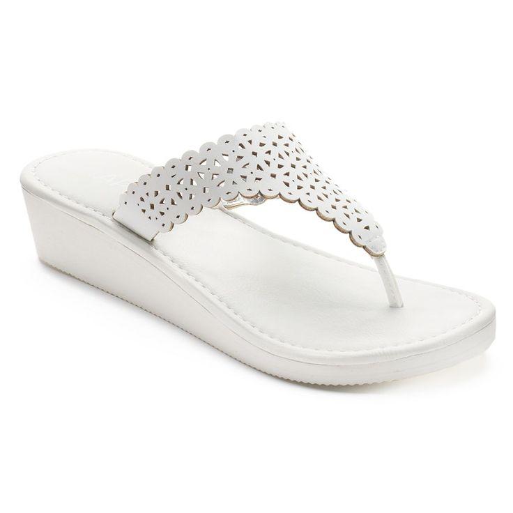 Apt. 9® Women's Chop Out Wedge Flip-Flops, Size: Medium, White