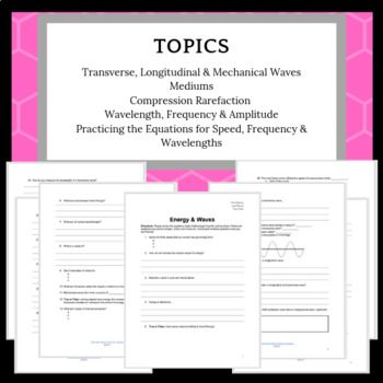 Energy And Waves Worksheet Review Or Assessment Science Notes