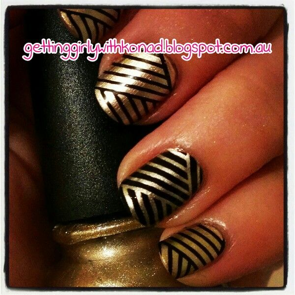Great Gatsby Inspired Nails - China Glaze 'Passion' and 'Liquid Leather' stamped using 'Passion' and Konad Black with Konad plate S06