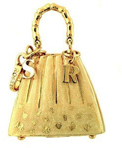 Rosato 18ct Yellow Gold & Champagne Enamel Michel XL Handbag Pendant - 2.7 inches high x 1.5 inches wide - Classic Collection