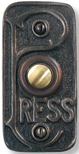 """Hard Pressed doorbell button. Measures approx 2.75"""" h x 1.875"""" w, with a projection of about 1/4"""". Comes in an antique brass finish, with a solid brass push button and solid brass screws."""