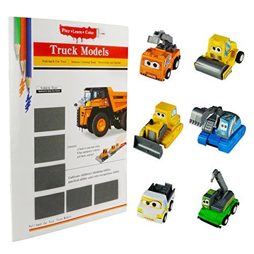 From 11.95:6 Pcs Construction Truck Toy Pull Back Car Set With A Delicate Colouring Book For Kids 3 Years Old