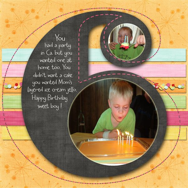 """Cute """"Six"""" Birthday Page...Porkchops mom - Scrapjazz.  Love the use of photos on the number six."""