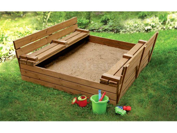 Wooden Sandpit with Seats - Large - Sandpits - Playgrounds & Playhouses - Sports & Outdoors - Home & Outdoor Living Trade Tested