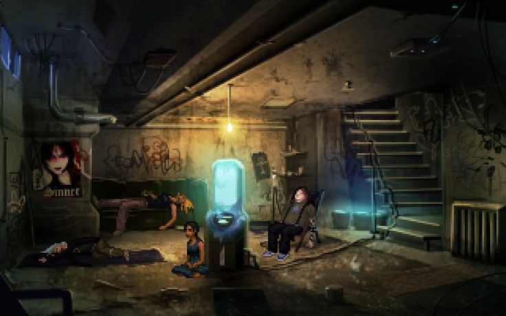"""Technobabylon - Wadjet Eye Games  """"A Trance den. When you're plugged in, you don't care what it looks like."""""""