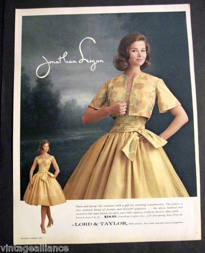 Vintage 1960 Lovely Girl In Jonathan Logan Dress Lord