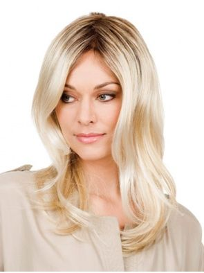 Without Bangs Blonde Wavy Lace Front Gorgeous Remy Human Hair Medium Wigs