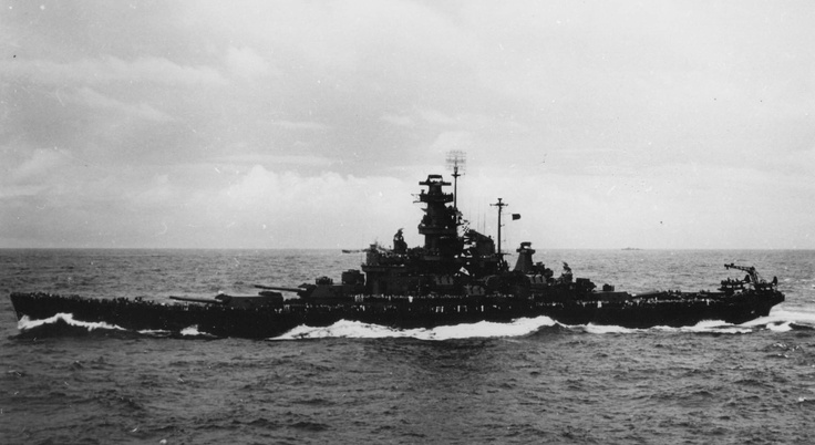 USS Alabama en route to Gilbert islands, 12 Nov 1943; note USS Indiana in distance and another ship in background; photo taken from USS Monterey.