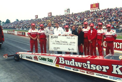 Kenny Bernstein's crew after the historic breaking of the 300-mph barrier in 1992.