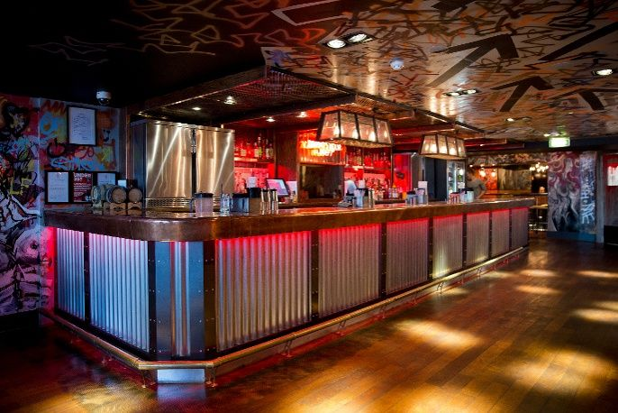 Corrugated Metal Bar Counter Front Interior Design For