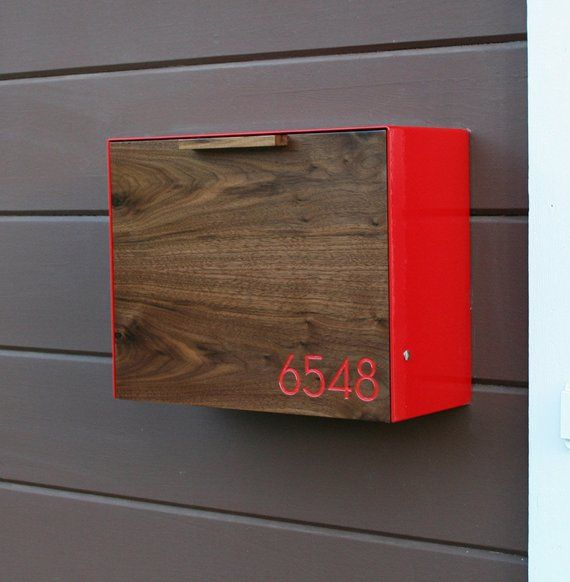 Modern Mailbox Large Walnut Mailbox Wall Mounted Mailbox Briefkasten Modernes Postfach Brief