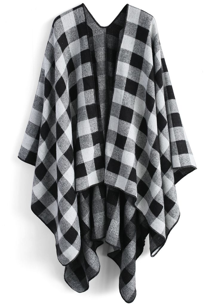 Classic Black Check Blanket Cape - New Arrivals - Retro, Indie and Unique Fashion