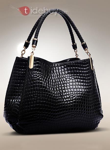 多色OLスタイルクロコダイルプリントハンドバッグ