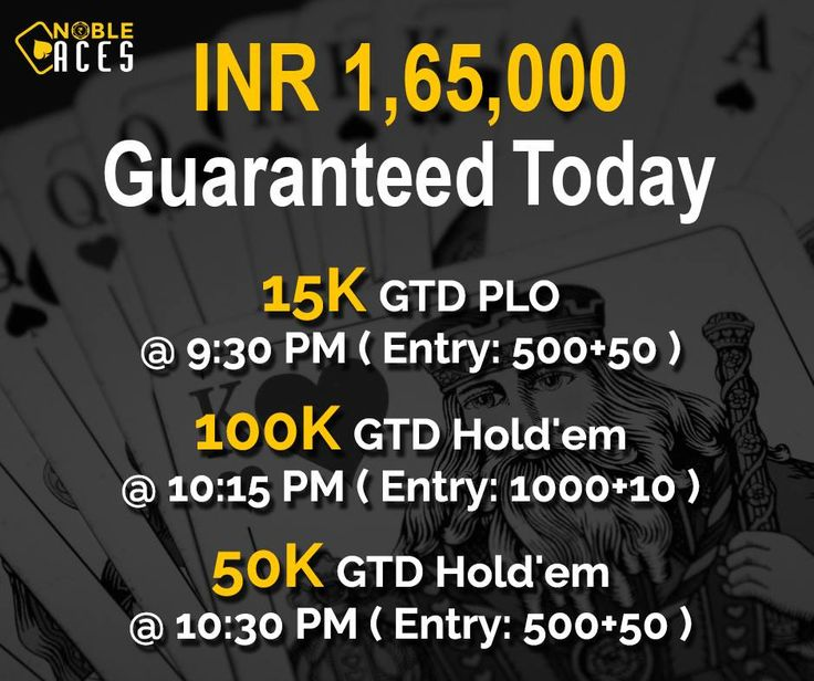 Big Saturday is here. INR 1,65,000 Guaranteed today between 9:30 PM and 10:30 PM  #NobleAces #OnlinePoker