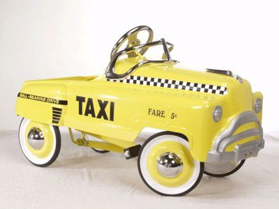 childs vintage yellow taxi peddle car kids carspedal